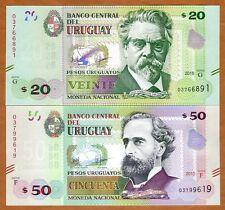 SET Uruguay, 20;50 Pesos Uruguayos, 2015 (2017), P-New, Upgraded Security,UNC