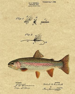 Choice of 4 BG/'s Patent Art Print 1899 Fishing Lure with Rainbow Trout Image