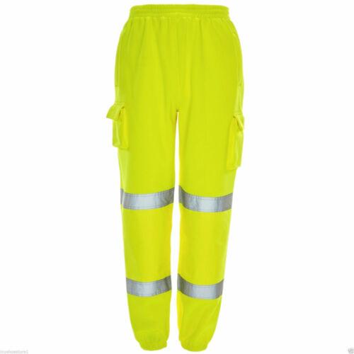 Hommes Sécurité Sweat Pantalon Hi Viz Vis Travail Polaire Pantalon De Jogging Pantalon De Survêtement