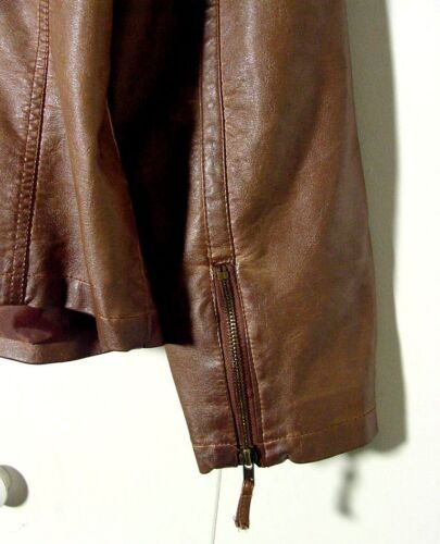 Racer Vtg Bryant Leather 2xl Sz Cafe Veste Faux Brown Lane 076vZWp71