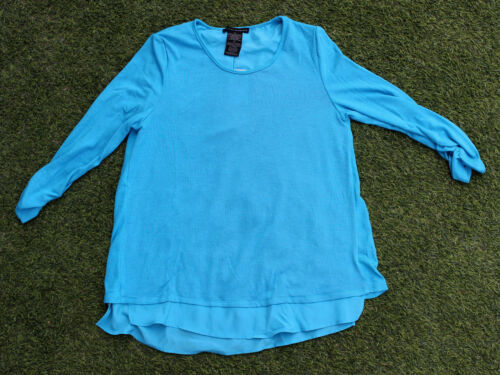 Grace Elements Women/'s 3//4 Ruched Sleeve Top Cute Back Blouse Aqua Lagoon Shirt