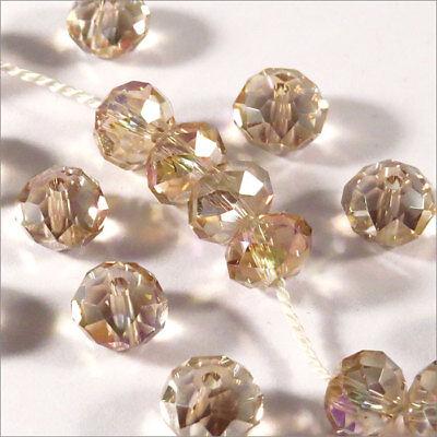 Lot de 50 Perles Facettes Rondelles 6mm x 4mm Cristal ROUGE Verre Taillé *VT4.3