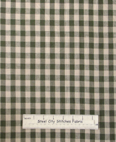 Homespun Primitive Check Colonial Sage Beige Cotton Fabric Dunroven House YARD