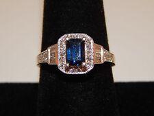 1.62 tcw Emerald Cut Kashmir Sapphire Diamond Halo Enagagement Ring 14k WG E/VS