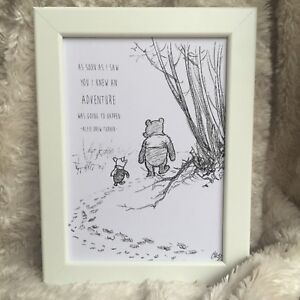 Personalised Winnie The Pooh Framed Print New Babybirth Picture