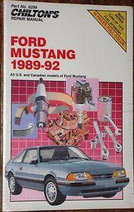 chilton repair manual for 1989 1992 ford mustang 8299 ebay rh ebay com 1991 Mustang 2000 Mustang