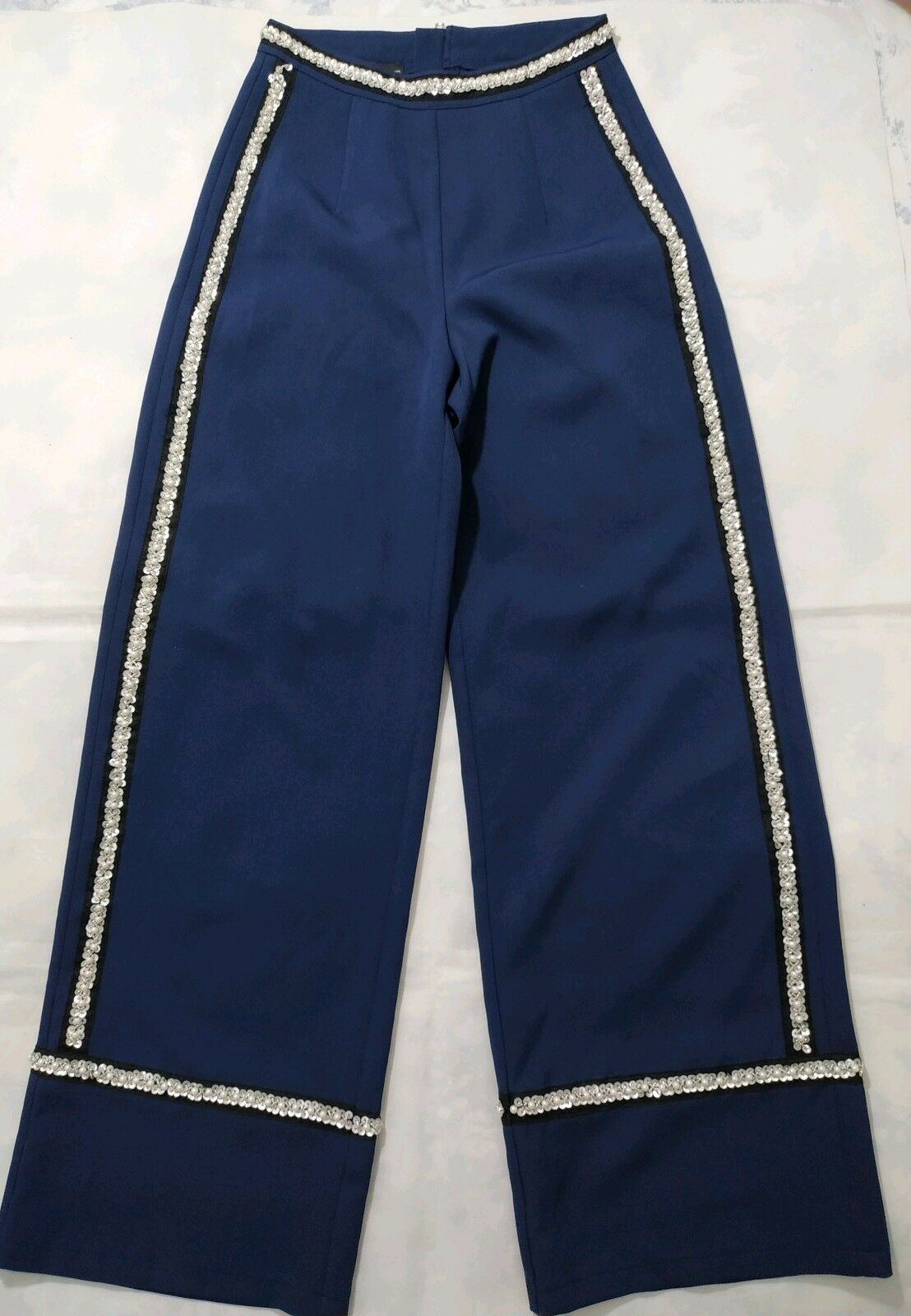 Prettylittlething Sample Ladies bluee Pearl  Palazzo Pants Trousers Size 8 NWOT