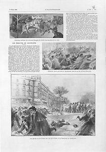 Emeutes-Barcelone-Grevistes-Garde-Civile-Rambla-de-Cataluna-Espagne-GRAVURE-1902