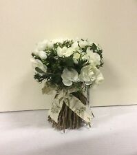 New Design 21cm Artificial Silk Flower Bouquet Rose & Twig Arrangement Cream