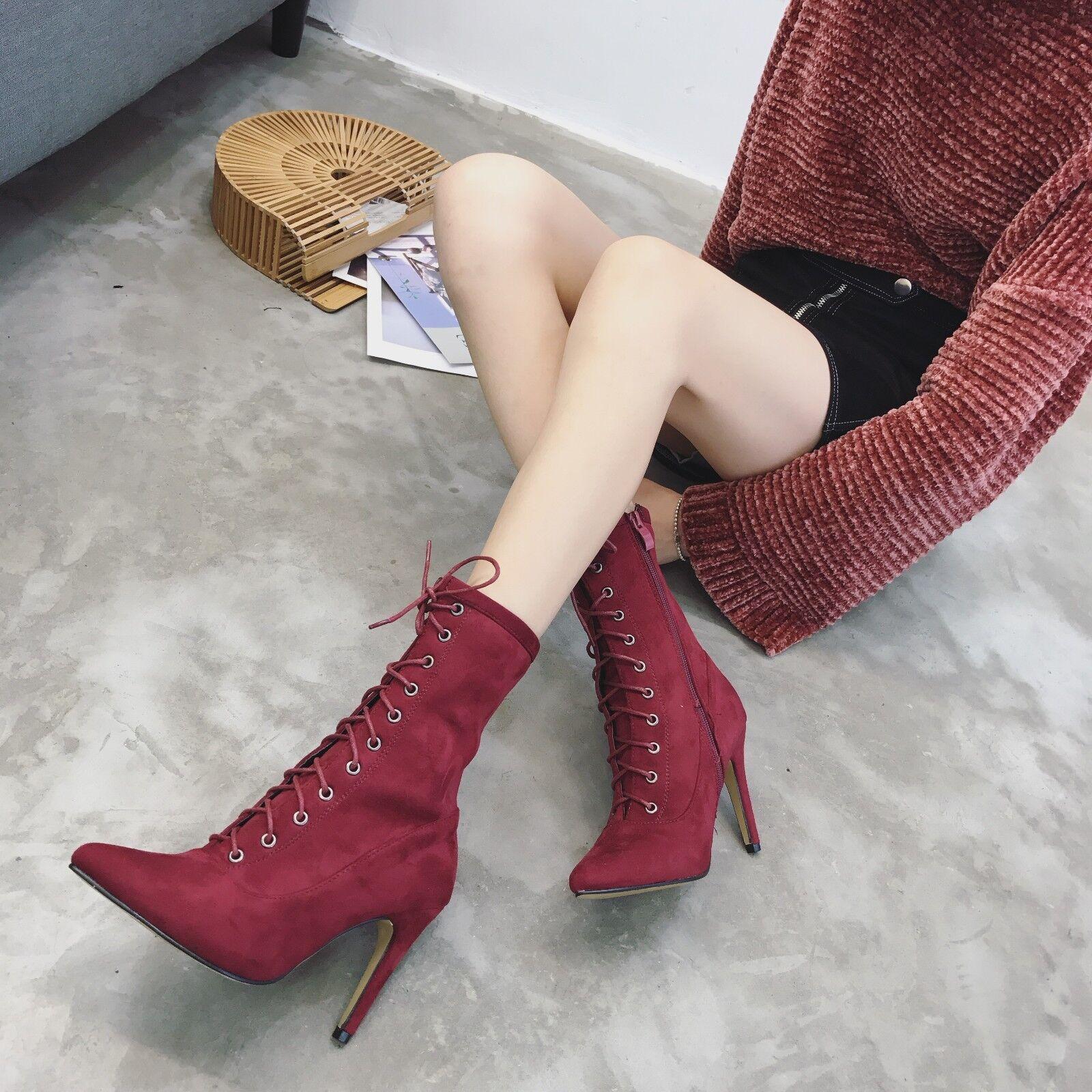 Stivali stivaletti stivaletti Stivali stiletto bassi rosso spillo eleganti 11 cm simil pelle 1392 4416f4