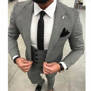 designer business suit grau kariert herrenanzug sakko hose weste tailliert 44 ebay. Black Bedroom Furniture Sets. Home Design Ideas
