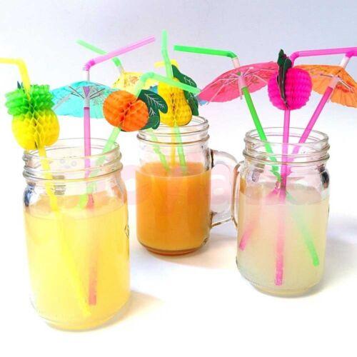 20//40X Paper Parasol Umbrella Fruit Tea Cocktail Drink Straws Party Decor HV