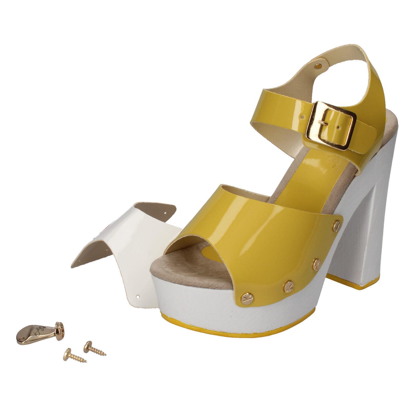 Scarpe donna SUKY BRAND 40 sandali giallo ( bianco ) vernice AC800-F