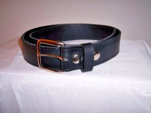 Men new genuine black leather stitched money belts made in the USA