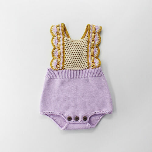 UK Newborn Kid Baby Girl Clothes Knitted Romper Jumpsuit Bib Pants Outfit Autumn