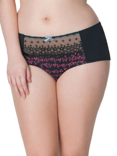 New Curvy Kate Daydreamer Short Brief Knickers Black Floral Print CK5403