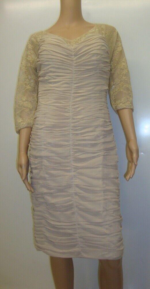 Robe pour la mariée mère court robe de cocktail Mini Dentelle Beige 36 s Litb NEUF