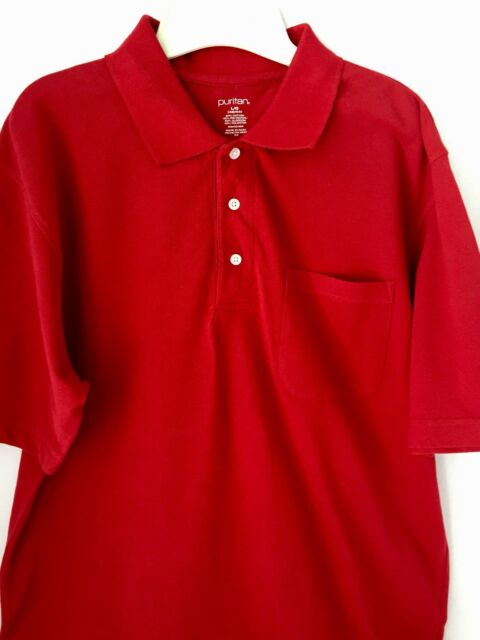 Polo Shirt NEW Tags Puritan Size L Men's Red Short Sleeve Pocket Cotton Golf
