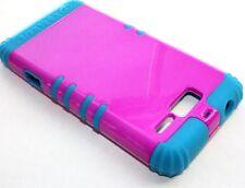 Motorola Droid RAZR M i XT907 -HARD & SOFT RUBBER HYBRID CASE HOT PINK TEAL BLUE