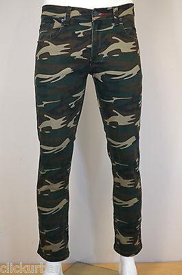VICTORIOUS Men's Camo Skinny Jeans Pants Black Khaki Olive White Camouflage