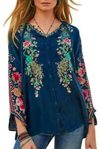 258-Johnny-Was-Peacock-Embroidered-Blouse-Small-Runs-Large-Blue-Bold-GORGEOUS