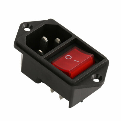 UK IEC320 C14 AC Power Male Cord Inlet Socket with ON-OFF Rocker Switch 250V 15A
