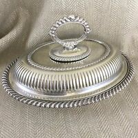 Antique Entree Dish Serving Bowl Half Ribbed Silver Plate by Mappin & Webb