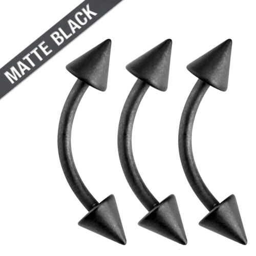 3 Pc 16g Matte Black Spike Surgical Steel Tragus Lip Piercing Eyebrow Ring 4mm