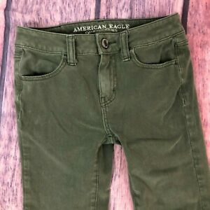 American-Eagle-Olive-Jegging-Skinny-Jeans-Size-0-Short-Denim-360-Stretch