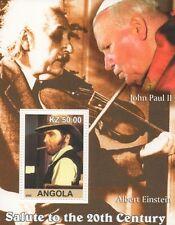 Elvis Presley Vaquero Einstein El Papa Juan Pablo II Angola 2002 estampillada sin montar o nunca montada SELLO Sheetlet