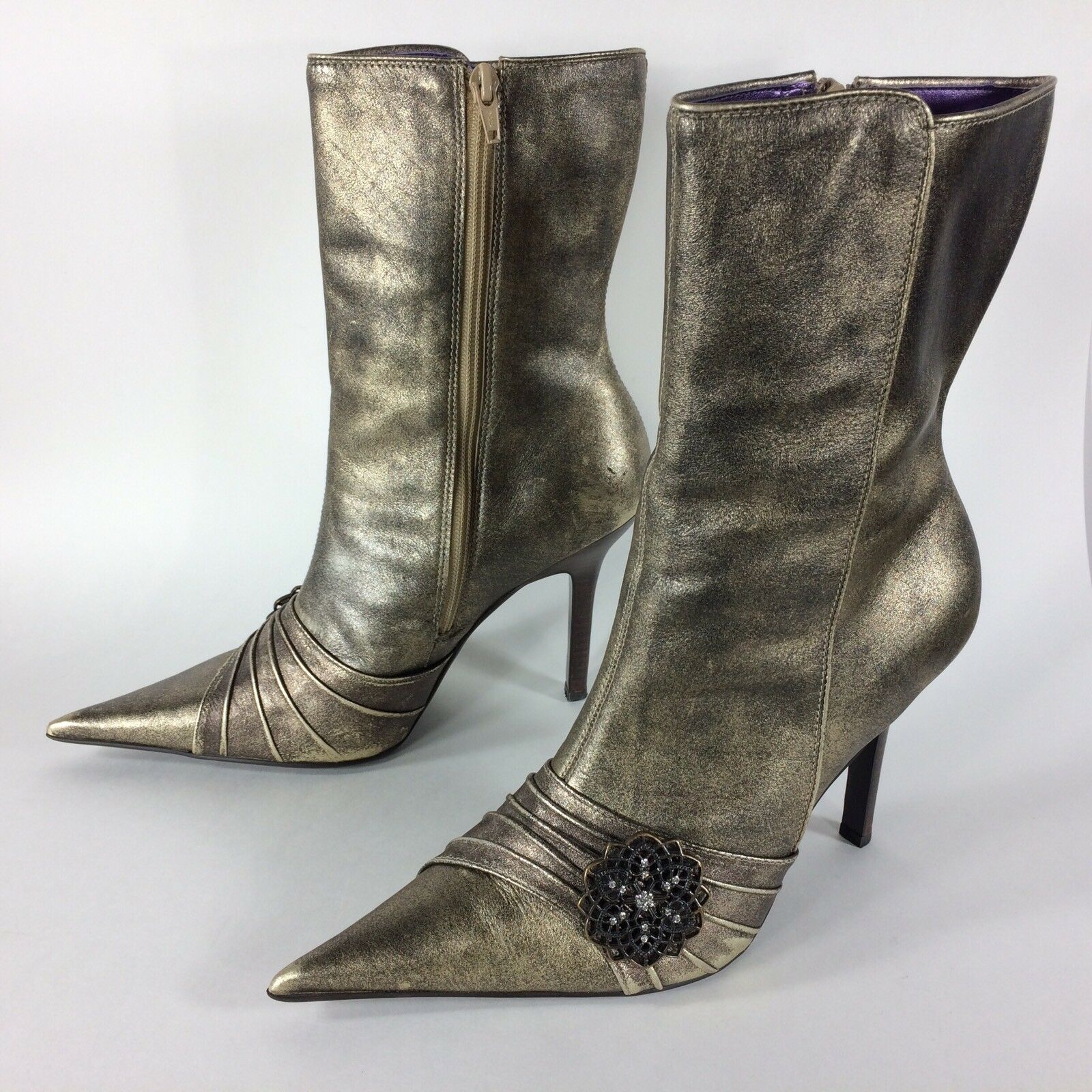 STEVE MADDEN High Heel Boots Leather Gold Metallic Womens Size 8.5 US Vtg Look
