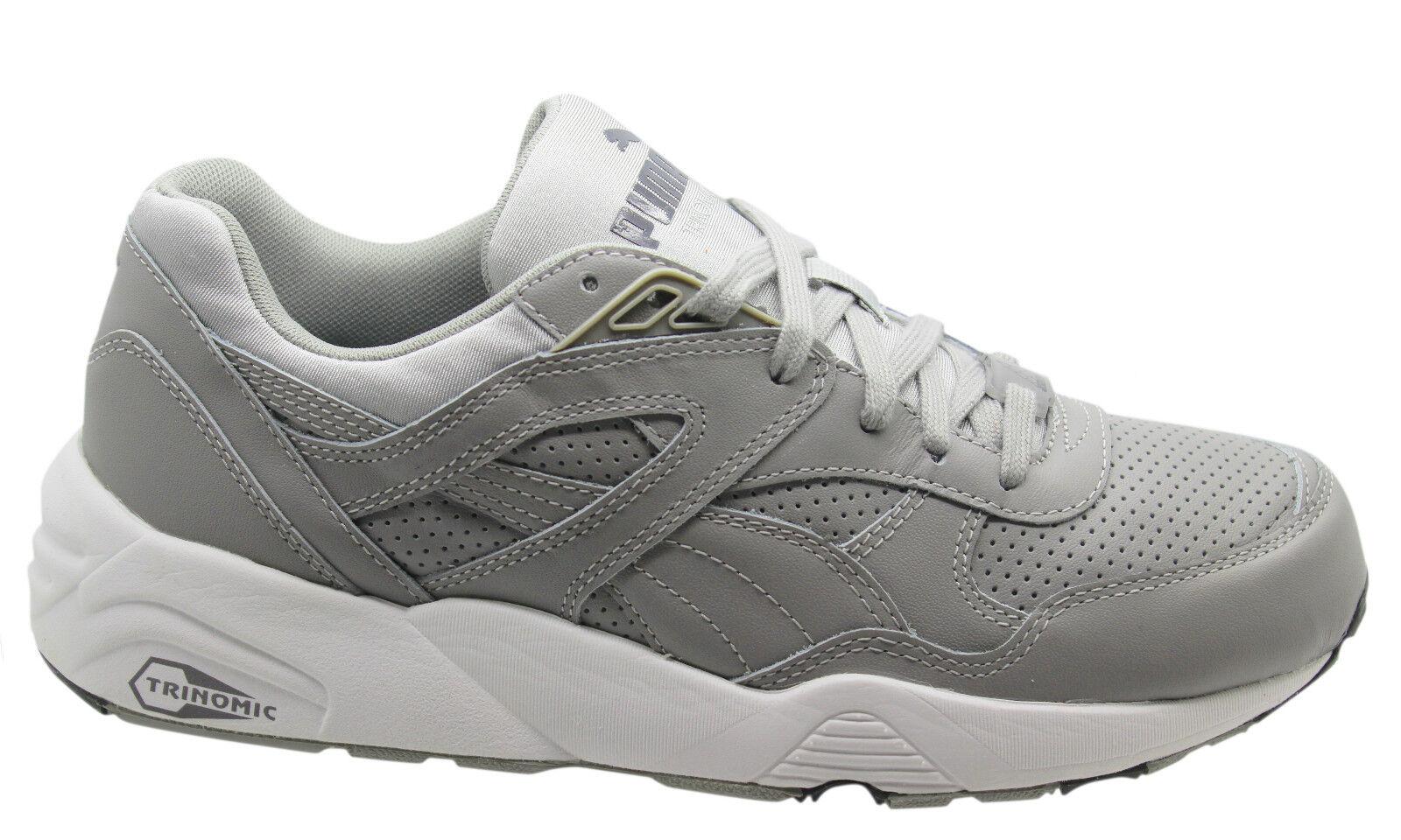 Puma Trinomic R698 Cuero de Alta Calidad Zapatillas Hombre para Correr grey