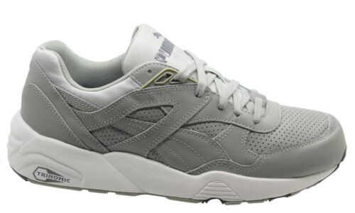 Puma Trinomic R698 Core Leather Men Trainers Running Shoes Grey 360601 03 P6B