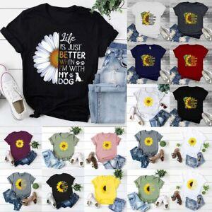 AU-Women-039-s-Summer-Short-Sleeve-T-Shirt-Blouse-Casual-Ladies-Print-Tee-Tops-HOT