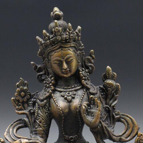 -- Antiques Tibet Brass Tibetan Buddhism Statue White tara
