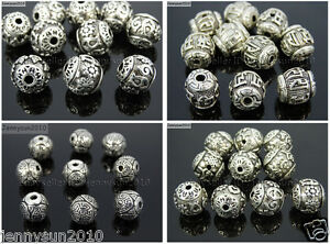 Vintage-Patterned-Tibetan-Silver-Spacer-Connector-Charm-Beads-3-Hole-Tibet-Guru