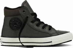 SCARPE-SNEAKERS-UOMO-DONNA-CONVERSE-ALL-STAR-CT-AS-HI-654310C-CHARCOAL-PELLE