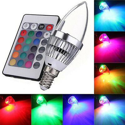 3W LED Candle Light RGB Color Changing Lamp Bulb + IR Remote Control Party Bulb