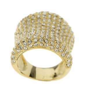 Image Is Loading Qvc Melania Bold Pave Clear Crystal Band Ring