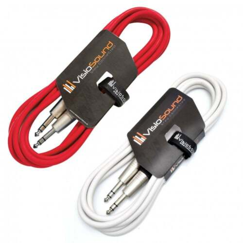 """Balanced Signal Audio Patch Cable 2 Pack 2x 6.35mm 1//4/"""" Stereo TRS Jack Lead"""