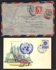 "THAILAND 1966 UN DAY FDC W/ PASTEL HAND COLORED CACHET ""BANGKOK 24.10.66"" + 1948"