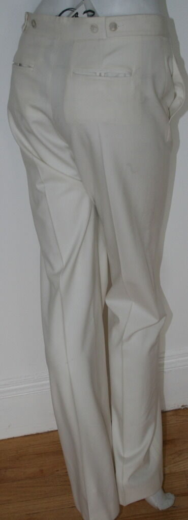 Jil Sander light cream off Weiß virgin wool elastane Trouser NEW Pants sz 36 6