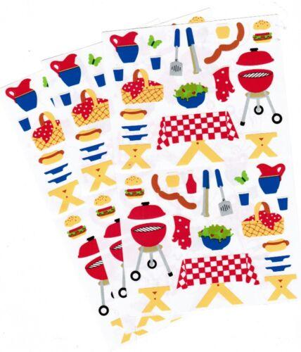 Mrs Grossman/'s Picnic BBQ Food Salad Basket Burgers Scrapbook Stickers 3 Sheets
