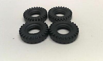 Dinky 102 Joe/'s Car reproduction 17mm O//D black treaded tyres set of 4