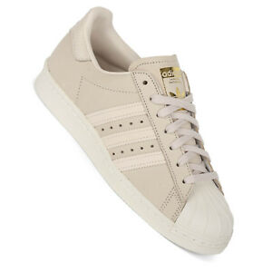 nouvelle arrivee 1ada8 0f3bc Details about Adidas Superstar 80s Women's Sneakers Linen Beige Gold AQ1219