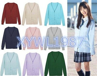Japanese Girls Cosplay JK School Uniforms Long Sleeve Knit Cardigan Good Sweater