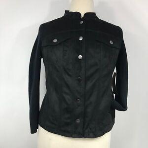Ruff Hewn Women Jacket Faux Suede Knit Button Down Long Sleeve Black Sz 1 X NEW