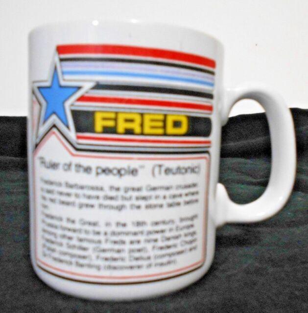 "Fred White Ceramic Name  Mug  8 oz 3 3/4 "" Ruler of the peope (Teutonic)"