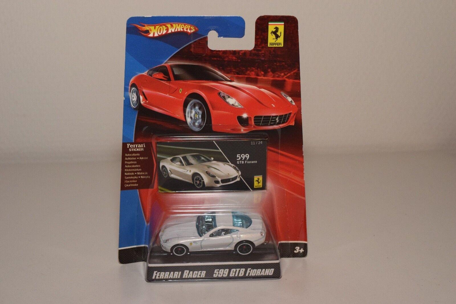 V 1 64 HOTWHEELS RACER FERRARI 599 GTB 599GTB FIORANO blanc MINT ON CARD RARE