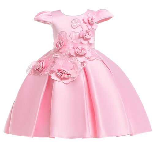 Flower Girls Dress Cap Sleeve Ball Gown for Kids Wedding Communion Formal Party